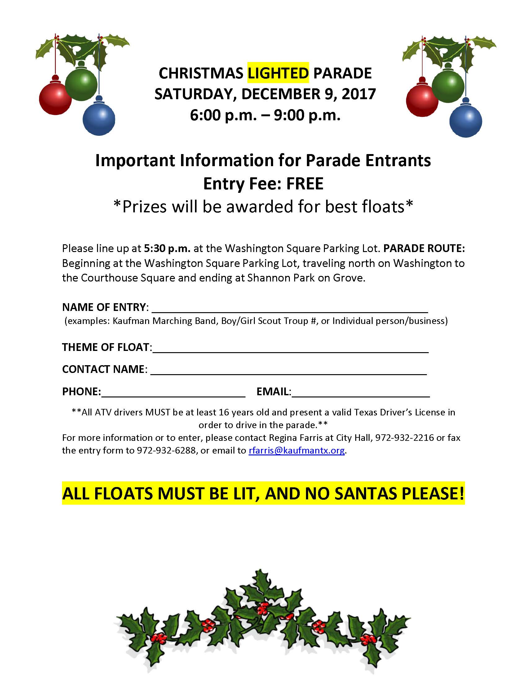 Parade entry form 2017