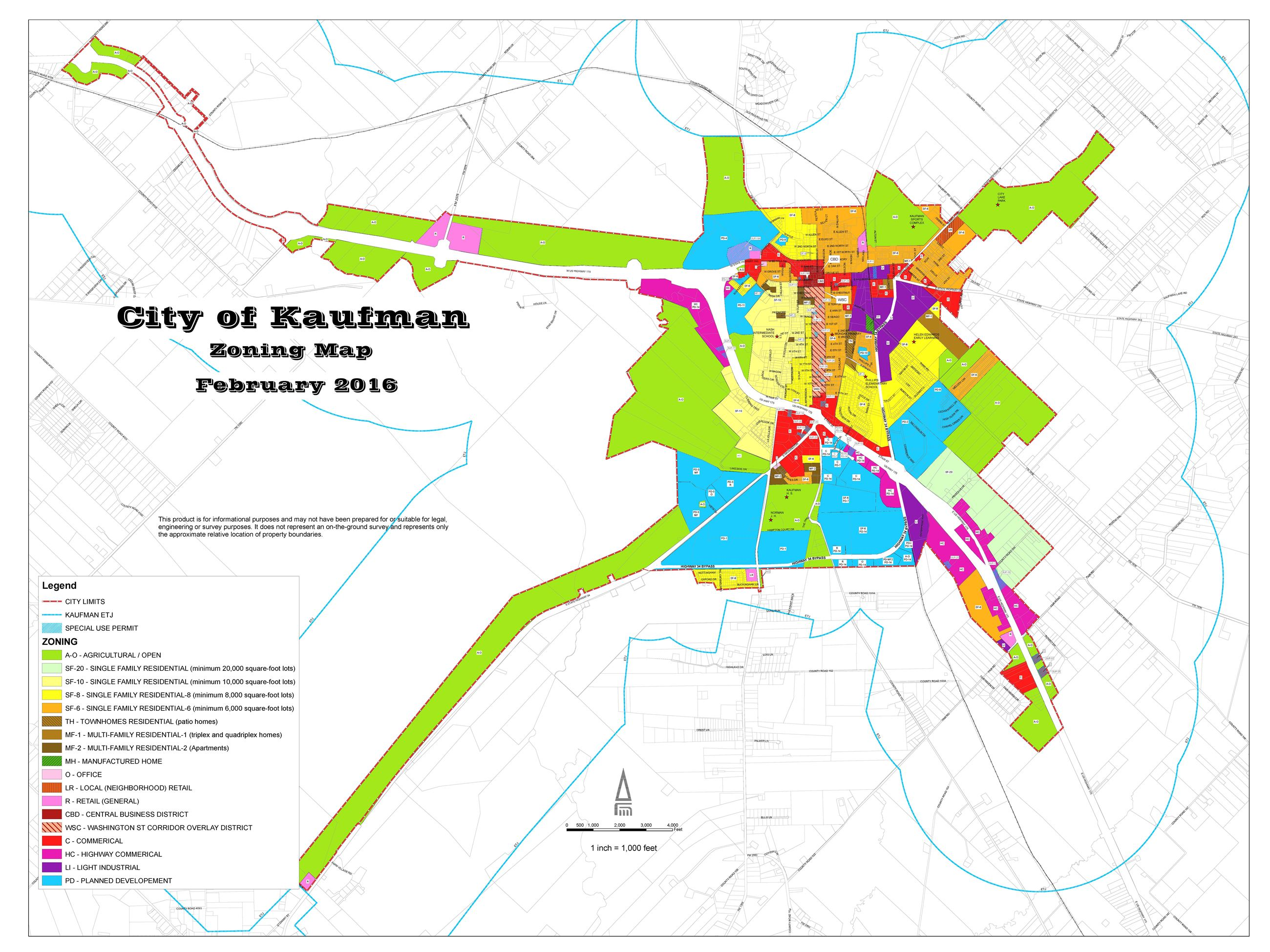 2016 Kaufman Zoning Map